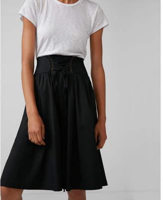 Express high waisted cotton corset midi skirt