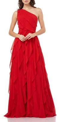 Carmen Marc Valvo Asymmetric One-Shoulder Cascading Chiffon Gown