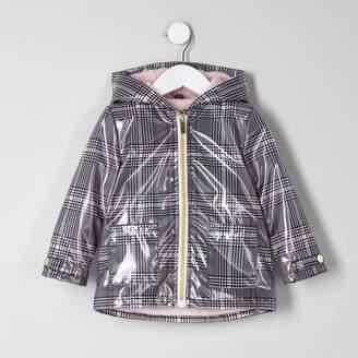 River Island Mini girls Black check rain coat