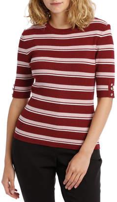 Miss Shop Short Sleeve Rib Knit Top - Variegated Stripe