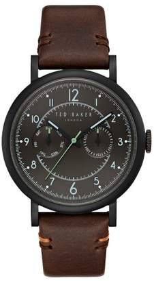 Ted Baker Aiden Multifunction Leather Strap Watch, 41mm