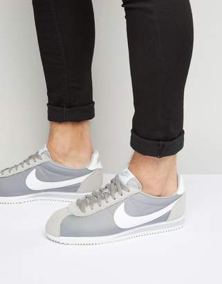 Nike Classic Cortez Nylon Trainers In Grey 807472-010