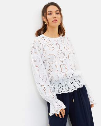 Lily Cut-Out Embroidered Crepe Blouse
