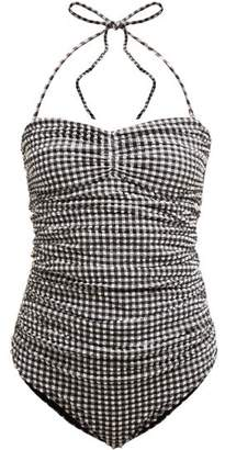 Ganni Ruched Gingham Swimsuit - Womens - Black