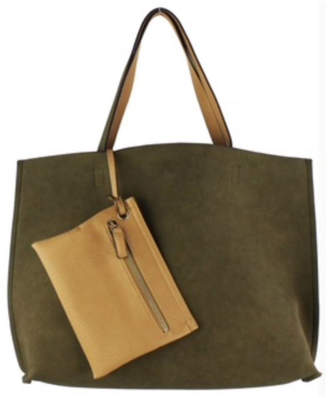 Street Level Olive Reversible Tote