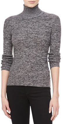 Michael Kors Marled Cashmere Long-Sleeve Turtleneck, Ivory