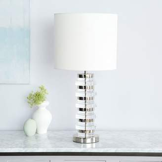 west elm Clear Disk Table Lamp + USB - Polished Nickel