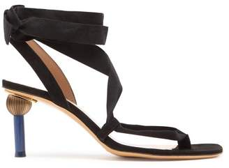 Jacquemus Capri Mismatched Heel Suede Sandals - Womens - Black