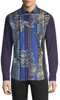 Versace Printed Stretch Cotton Shirt