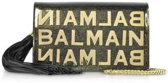 Balmain Khaki Glittered Shiny Leather Clutch W/chain Strap And Metallic Logo