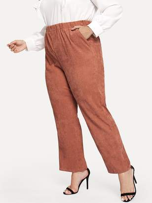 Shein Plus Solid Elastic Waist Cord Pants