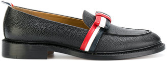 striped bow loafers