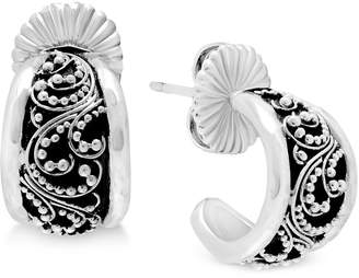 Lois Hill Decorative Hoop Earrings in Sterling Silver