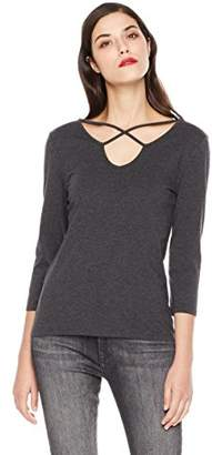 Mariella Bella Women's 3/4 Sleeve Criss Cross Front Back Neck Line Knit Top