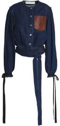 J.W.Anderson Cropped Leather-appliqued Denim Jacket