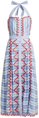 Temperley London Trelliage zigzag-edged striped dress