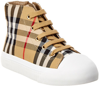 Burberry Vintage Check Leather High-Top Sneaker
