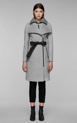 Mackage NORI-K tailored wool coat with wide lapel and belt