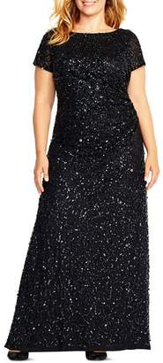 Adrianna Papell Plus Sequined Cowl-Back Gown