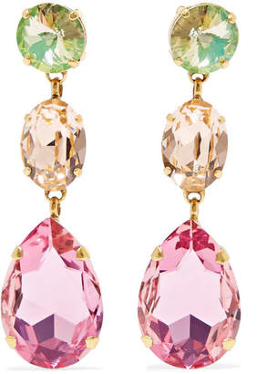 Swarovski Roxanne Assoulin - Hip Hop But Not Gold-tone Crystal Clip Earrings - Pink