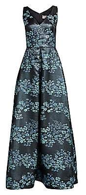 Theia Women's Floral Jacquard Ball Gown