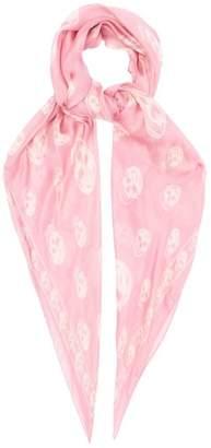 Alexander McQueen Skull Print Silk Chiffon Scarf - Womens - Light Pink