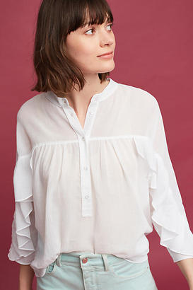 Maeve Ruffled Henley Top $78 thestylecure.com