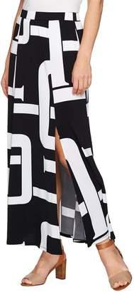 Susan Graver Petite Printed Liquid Knit Six Gore Maxi Skirt with Slit