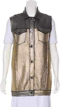 Avant Toi Metallic Button-Up Vest