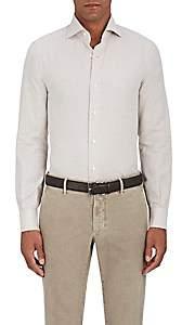 Isaia Men's Cotton-Cashmere Twill Dress Shirt-Beige, Tan