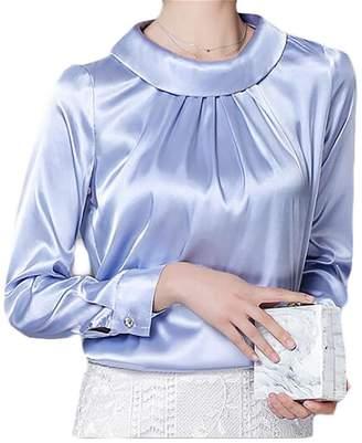 603226e9f GRMO-Women Fashion Satin Silk Long Sleeve Shirt Formal Silky Blouse Tops US  M