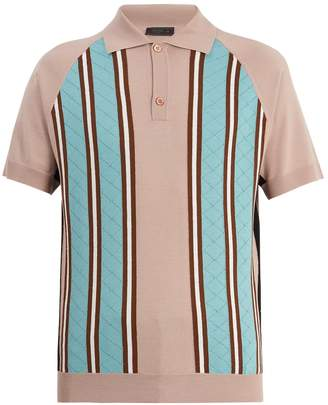 Prada Point-collar striped-knit wool polo shirt