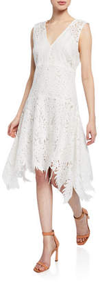 Josie Natori Palm Lace Sleeveless Asymmetric-Hem Dress