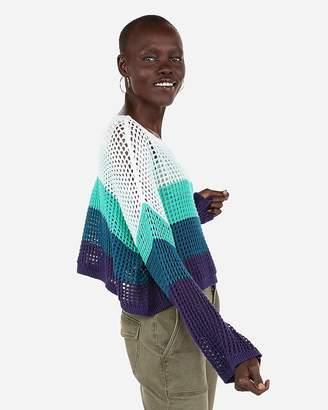 Express Striped Open Stitch Pullover