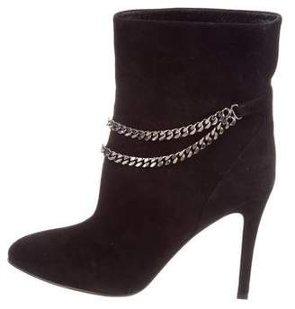 Saint Laurent Suede Chain-Embellished Ankle Boots