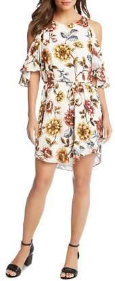 Karen Kane Cold-Shoulder Floral Dress