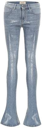 Roberto Cavalli Coated mid-rise skinny flare jeans