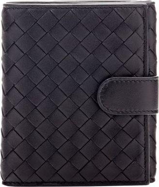 Bottega Veneta Women's Intrecciato Mini Wallet-BLACK $550 thestylecure.com