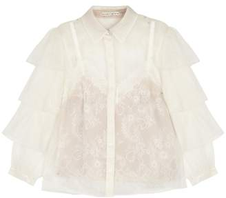 Alice + Olivia Maryalice Lace Tank And Organza Blouse