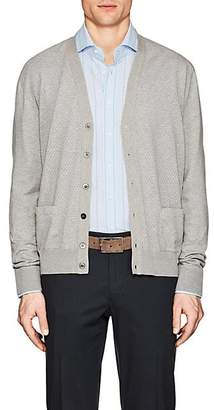 Cifonelli Men's Perforated Cotton V-Neck Cardigan - Gray