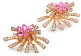 Hueb Mirage Diamond& Pink Sapphire Stud& Ear Jacket Set