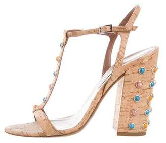 Tabitha Simmons Embellished T-Strap Sandals