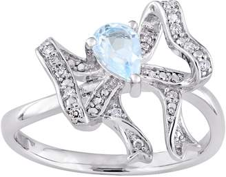 Laura Ashley Jewelry Sterling 0.45 ct Blue Topaz & Diamond Accent Rin