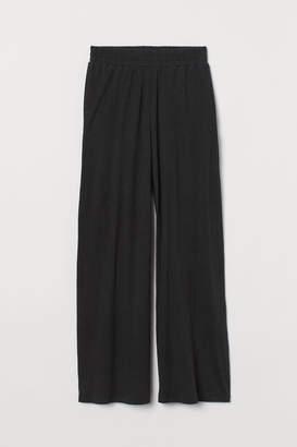H&M Wide-cut Linen-blend Pants - Black