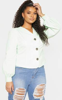 PrettyLittleThing Plus Mint Green Woven Button Front Puff Sleeve Top