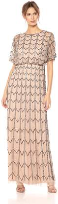 Adrianna Papell Women's Short Sleeve Zig Zag Beaded Long Blousson Gown, Taupe/Pink
