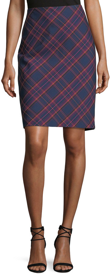 Trina Turk Crissy 2 Plaid-Print Pencil Skirt