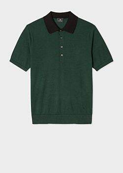 Paul Smith Men's Green Striped Short-Sleeve Knitted Cotton Polo Shirt