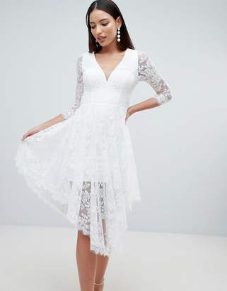 Forever Unique Lace Skater Dress With Sheer Lace Detail