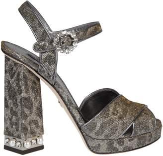 Dolce & Gabbana Bejeweled Heel Platform Sandals